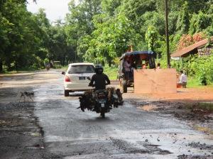 un tramo de carretera, en Myanmar, con los pollos incluidos ;)