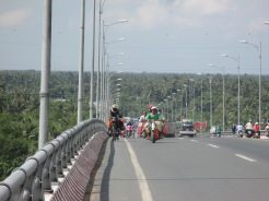 Takaten crossing Mekong delta bridge